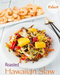 This Roasted Hawaiian Slaw is an easy and beautiful side dish that is great to serve at a picnic or BBQ! Roasting brings out a smoky depth that beautifully offsets the sweetness of the pineapple, and the brightness of the ginger.  Everyone will want the recipe!    #Paleo #Primal #vegan #GlutenFree #vegetarian #eggfree #slaw #bbq #sidedish #Hawaiianrecipe  #picnic #salad