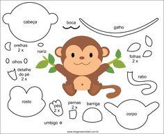 Molde de Macaco para EVA Feltro e Artesanato 2 Quiet Book Templates, Felt Templates, Felt Animal Patterns, Stuffed Animal Patterns, Foam Crafts, Paper Crafts, Decoration Creche, Sewing Crafts, Sewing Projects