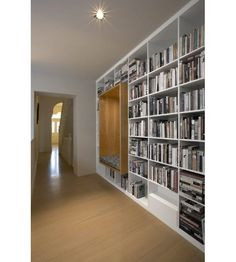 Reading nook built into shelves. Library Shelves, Wall Bookshelves, Bookshelf Design, Bookcases, Bookshelf Styling, Library Wall, Home Library Design, House Design, Design Design