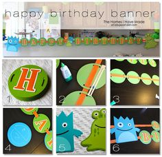 Monster party theme Birthday Banner