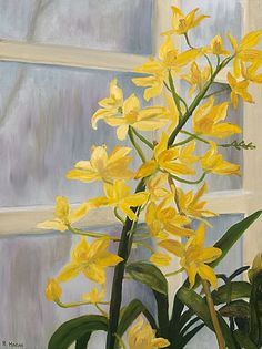 Sunshine on a Cloudy Day - oil on canvas - yellow orchid in a greenhouse window - www.rosehagan.com - giclee prints, magnet, note card