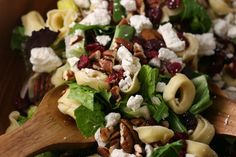 tortellini salad with cranberries, pecans and feta