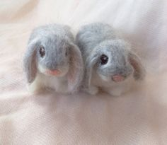 Needle Felted Lop Eared Baby Bunny Rabbit Grey by ClaudiaMarieFelt