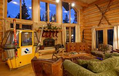 Ski Gondola Wooden Skis Crossed On The Wall Our Signature Sleigh Coffee Table House Decorated By Vintage Winter As Holiday Season Is