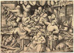 The Fat Kitchen - Pieter Breughel the Elder, 1563. Engraving by Pieter van der Heyden @ Metropolitan Museum of Art, New York