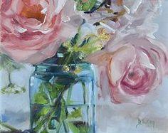 Virginia Paintings Original Artwork - Jar of Pink  by Donna Tuten