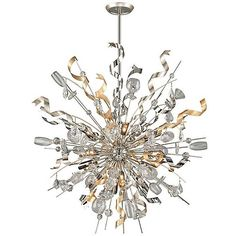 Corbett Lighting Party All Night Pendant ($6,038) ❤ liked on Polyvore featuring home, lighting, ceiling lights, silver and corbett lighting