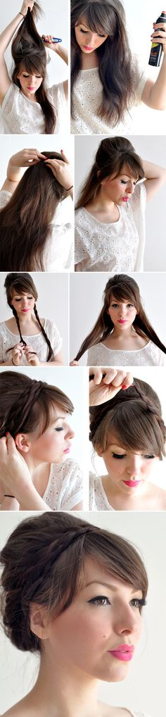 Peinados recogidos con trenzas verano Check out the website to see Pretty Hairstyles, Braided Hairstyles, Wedding Hairstyles, Elegant Hairstyles, Braided Updo, Hair Dos, My Hair, Look Girl, Step By Step Hairstyles