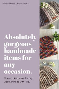 Handmade knitting, crochet and macrame. Unique items made with love. Perfect for any style and occasion.