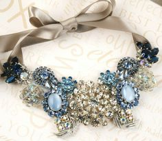 blue brooch wedding necklace