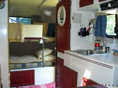 Red, white and blue scamp interior.