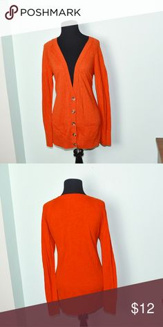 Super Cute Orange Cardigan In excellent condition! Very cute, soft, and flattering! Buy 3 items and get 1 free plus 15%off your purchase total! Sweaters Cardigans