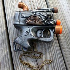 Steampunk Gun Nerf NECKLACE pendant charm Victorian Gothic toy ZOMBIE