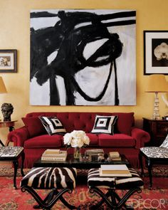 actually like the yellow with the red and dark browns        Main color with neutral graphic pops, opulent but not fussy, would prefer more comfortable looking chairs