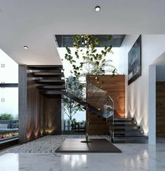 Dream House Interior, Interior Garden, Home Interior Design, Interior And Exterior, Home Stairs Design, Home Building Design, Modern House Design, Modern Houses, House Stairs