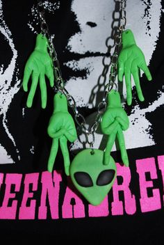We Come In Peace Alien necklace by lanapineapple on Etsy, £20.00