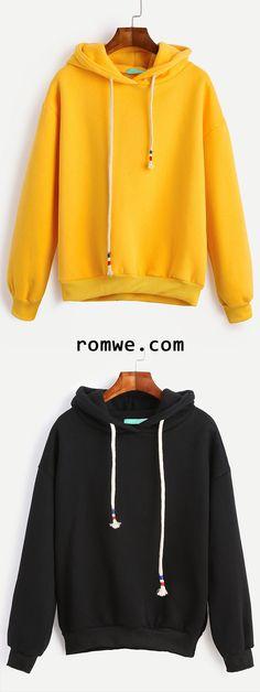Drop Shoulder Drawstring Hooded Sweatshirt - romwe.com