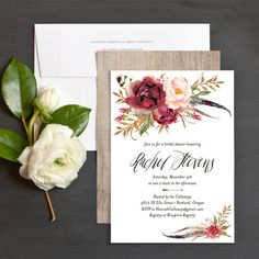Bohemian Floral Wood Bridal Shower Invitations by Emily Crawford Floral Wedding Invitations, Bridal Shower Invitations, Wedding Stationery, Wedding Favors, Invites, Invitation Ideas, Wedding Decorations, Floral Save The Dates, Wedding Save The Dates