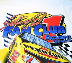 Autographed Nascar T-Shirt S, Steve Park Fan Club Stock Car Racing Vintage 1998 Signed Graphic Sports Tee, Small Nascar T-Shirt S Steve Park Autographed Fan Club Stock