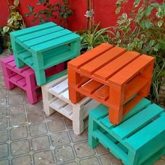 great idea for outdoor seating... or container tables