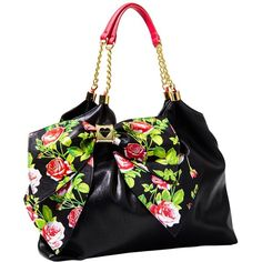 Betsey Johnson Bow Licious Tote ($118) ❤ liked on Polyvore featuring bags, handbags, tote bags, purses, apparel, black, new arrivals, chain tote, black purse and purse