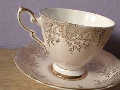 vintage bone china tea cup and saucer set, Royal Standard English tea set, beige gold white, Mother's day gift. $45.00, via Etsy.