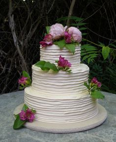"THIS is our wedding cake, rustic & simple, no fondant. I knew this was ""the"" cake the second I saw it over a year ago. Flowers will be different, may not even need a topper."