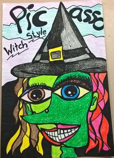 I had my students do a Picasso Style witch and this was the example I made for them. Halloween Art Projects, Fall Art Projects, School Art Projects, 3rd Grade Art Lesson, 7th Grade Art, Art Drawings For Kids, Art For Kids, Picasso Art, Halloween