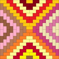 Simple rectangle patterns for quilting with same size blocks arranged into unique and interesting designs. Strip Quilts, Scrappy Quilts, Easy Quilts, Quilting Templates, Quilting Tips, Quilting Designs, Crazy Quilting, Quilt Block Patterns, Pattern Blocks