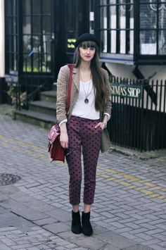 burgundy wine pants with hearts spots + long sleeve v-neck tee + jacket + hat + bag | fall autumn style