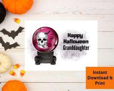 Halloween Card for Granddaughter, Printable Digital Download