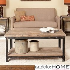 A perfect addition to any rustic-themed living room, the angelo:HOME Bowery Cocktail Table features a metal frame with a wood top and shelf. Decor, Rustic Decor, Sweet Home, Diy Home Decor Bedroom, Furniture, Interior, Sofa End Tables, Home Decor, Coffee Table