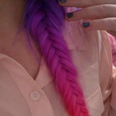 purple pink dip dye fish tail plait long hair