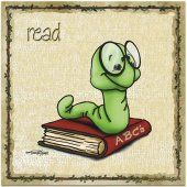 Animal Wall Art - Ready to Learn Bookworm - Baby Nursery Decor