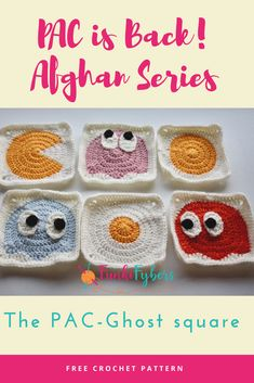 Square 4 of the PAC-Man Afghan series is the PAC-Ghosts.  These crochet PAC-Ghosts are crocheted in a round and squared off to fit nicely in the afghan.