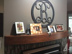 A contemporary hickory curved mantel shelf was crafted to coordinate with the client's other wood accents. Antique Furniture, Furniture Hardware, Custom Fireplace Mantels, Mantel Shelf, Wood Accents, Floating Shelves, Contemporary, Cabinet, Living Room