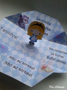 Convite caixinha Alice no país das maravilhas  Papel fotográfico 230 g ou offset  Aplique na tampa e lateral