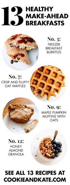 13 healthy, grab-and-go breakfast recipes! cookieandkate.com