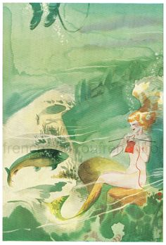 vintage art deco illustration mermaid knitting by FrenchFrouFrou