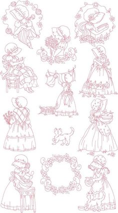 SALE Instant Digital Download Set 5X7 SunBonnet Girls Sun Bonnet Sue Machine Embroidery Designs