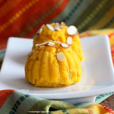 Mango Sheera Recipe. Mango Kesari or Halwa. Semolina Mango Pudding . Vegan Indian Dessert Recipe. | VeganRicha.com can be made gluten-free and oil-free