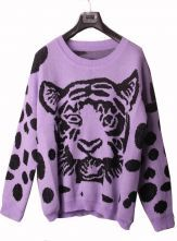 Purple Tiger Print Oversized Knitted Sweater $69 #SheInside