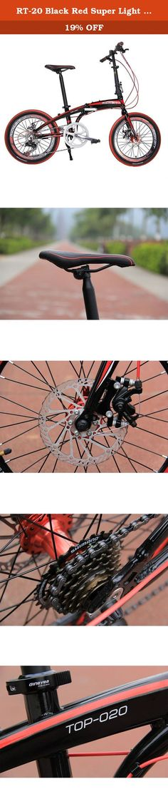 RT-20 Black Red Super Light Aluminium Mini 20 in Folding Bike Bicycle Shimano 7 Gears City Sports Bike Mechanical Brakes. Weight:12.5kg Size: 20 in Color: White, Black, Orange, Yellow Speeds: 7 Gears Frame: 7005 Aluminum Fork: Carbon Steel (Foldable) Headset: Pro Integrated Model Hand bar: 25.4 MM 7005 Aluminum Stem: Quick Release 7005 Aluminum Seat: Pro Saddle Seat Post/Clamp: 33.9 mm 7005 Aluminum Shifter Lever: SHIMANO -TX50-7 Rear Derailleur: SHIMANO -TX50-7 Paddle: HS Brakes: Yinxing...