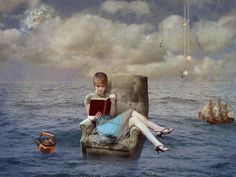 My Bookworm © Anne Barres (PhotoArtist. German) aka Q-Rai via DeviantArt. Digital Art / Photomanipulation / Surreal. Young woman reading a book on an easy chair in the middle of the ocean. with a teapot & sailling ship nearby.  ... Promote the Arts. Give credit where due. Pin from the Primary Source. Keep artists' names with their art.
