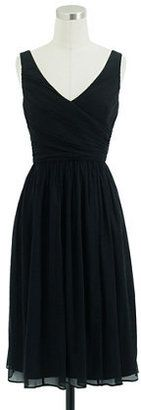 J. Crew Heidi dress in silk chiffon, $250.  Would be great in red or Tiffany Blue. Would need to work on my arms.