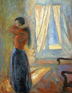 Munch, Edvard (Norwegian, 1863-1944) - Woman looking in the Mirror - 1882