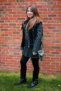 Business and Pleasure; Free People Leather Jacket ; Frye Boots