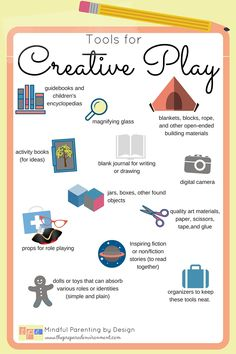12 tools to inspire creative play. I have most of these already! http://www.thepreparedenvironment.com/resources/encouraging-creative-play