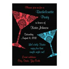 Bachelorette party invitations damask martini aqua