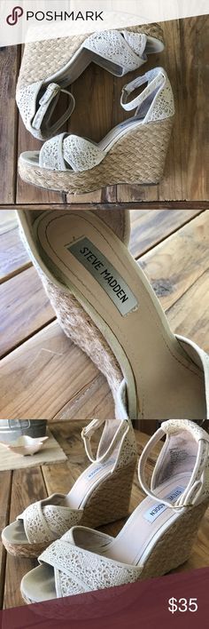Steve Madden Espadrille Wedge Woven, cream, espadrille platform wedge from Steve Madden. Ladies, this Wedge is so comfy! Great for the pool, or dressed up as well. Steve Madden Shoes Wedges